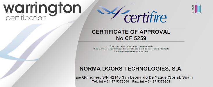 Las puertas de Norma Doors-Puertas Norma responden ante todos los certificados de calidad de la UE Y los Países Árabes