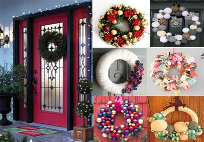 Algunos ejemplos de coronas navideñas para decorar puertas